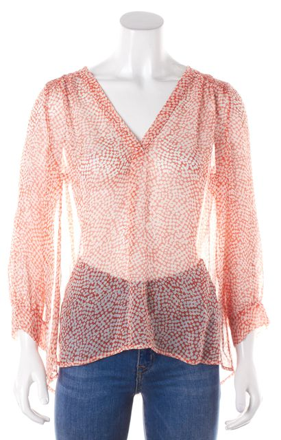 JOIE Orange Abstract Sheer Silk Blouse Top