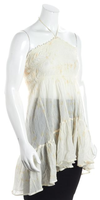 JOIE Ivory Abstract Leaf Halter Tunic Tank Top