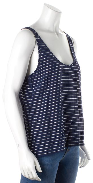 JOIE Blue and Silver Striped Tank Top
