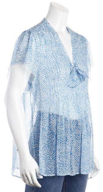 JOIE Blue & White Polka Dot Short Sleeve Blouse Top