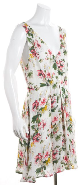 JOIE Multi-color Floral V-Neck Cinched Waist Shift Dress
