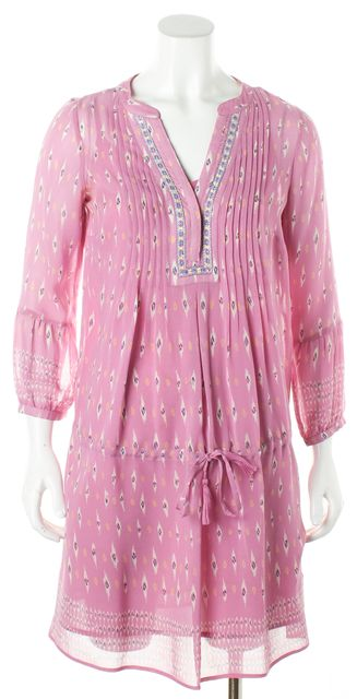 JOIE Pink Abstract Silk Tunic Dress