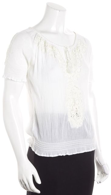 JOIE Ivory Short Sleeve Cotton Embroidered Blouse