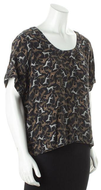 JOIE Black Cheetah Giraffe Print Dolman Sleeve Silk Boat Neck Blouse