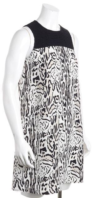 JOIE Black White Abstract Animal Print Silk Sleeveless Shift Dress