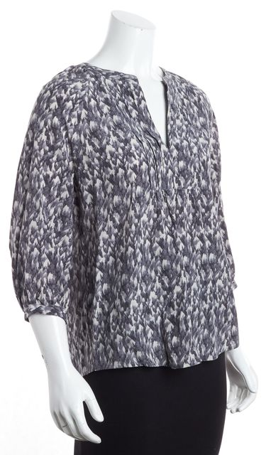 JOIE Gray White Abstract Long Sleeve Silk Blouse