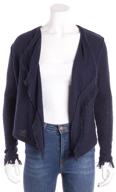 JOIE Navy Blue Marled Fringed Detail Cardigan Sweater