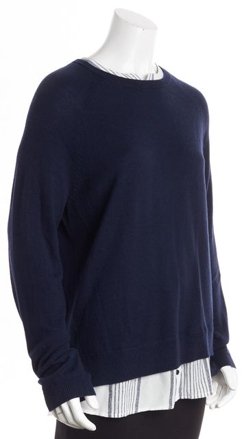 JOIE Navy White Striped Collared Layered Sweater