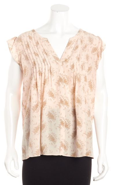 JOIE Beige Floral Pleated Ruffle Sleeve Blouse