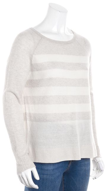 JOIE Beige and Light Pink Ombre Striped Scoop Neck Sweater