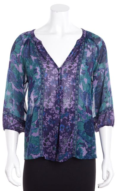 JOIE Green Purple Blue Floral Silk Ruched Sleeved Plunging V-Neck Blouse