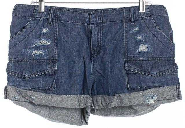 JOIE Medium Wash Lightly Distressed Cuffed Denim Shorts