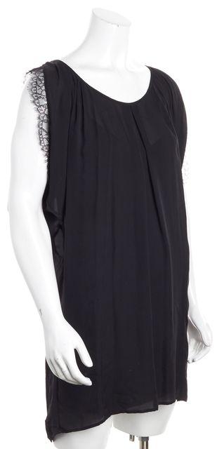 JOIE Black Silk Lace Trim Tie Back Sleeveless Shift Dress