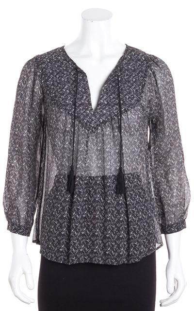 JOIE Gray Abstract Silk Blouse Top