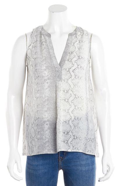 JOIE Gray Snakeskin Abstract Sleeveless Silk Blouse