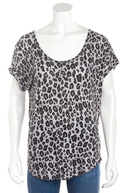JOIE Gray/Black Short Sleeve Animal Print Linen Blouse Top