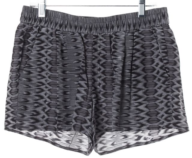 JOIE Black Gray Abstract Silk Casual Shorts