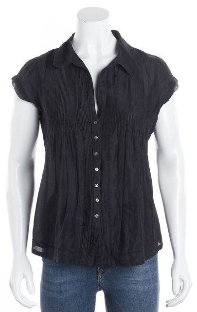 JOIE Black Button Down Collared Cap Sleeve Blouse