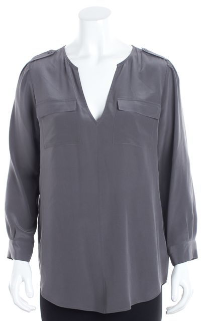 JOIE Gray Silk Bust Pocket Detailed V-Neck Blouse