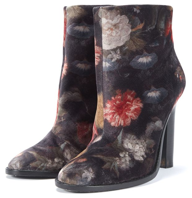 JOIE Multi-color Floral Gold Tone Branded Zip Suede Ankle Bootie Heels