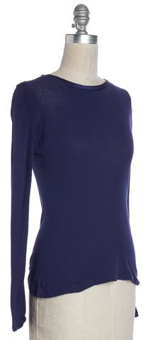 JOSEPH Purple Long Sleeve Basic Tee Top Size S