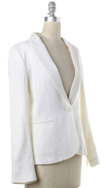 JOSEPH Ivory Linen Single Button Blazer