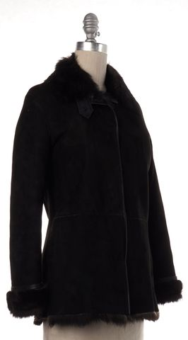 JOSEPH Black Suede Fur Lined Trim Coat
