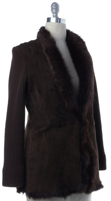 JOSEPH Brown Suede Leather Fur Lined Rib Knit Jacket
