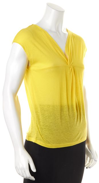 JOSEPH Yellow Cotton Linen V-Neck Knot Front Ayo Tee Top