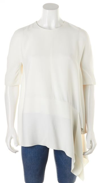 JOSEPH White Short Sleeve Asymmetrical Abi Blouse Top