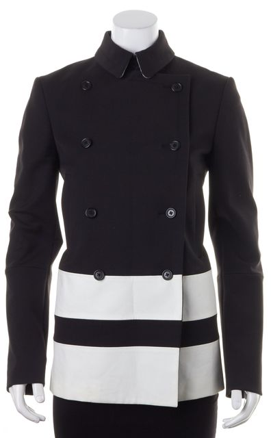 JOSEPH Black White Striped Cotton Canvas Peacoat Jacket