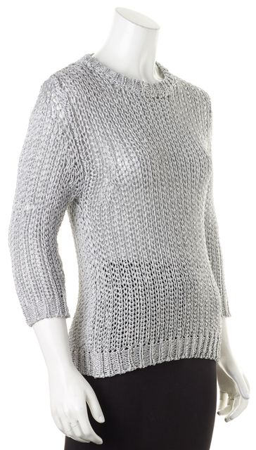 JOSEPH Metallic Silver Chunky Lurex Knit Crewneck Sweater
