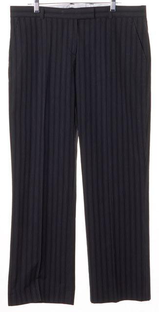 JOSEPH Navy Blue White Pinstriped Cotton Cropped Dress Pants