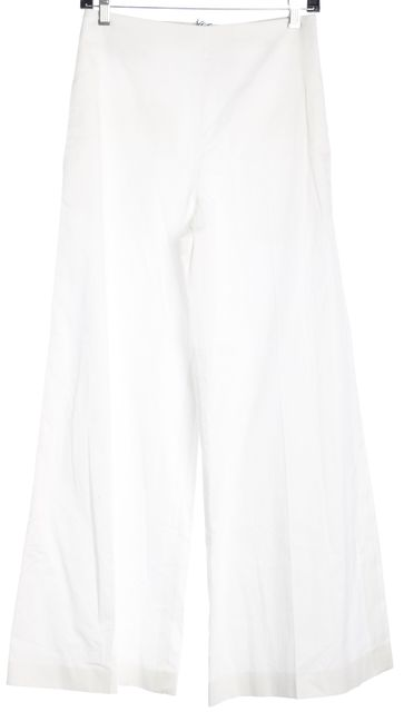 JOSEPH White Brad Sateen Shirting Wide Leg Dress Pants
