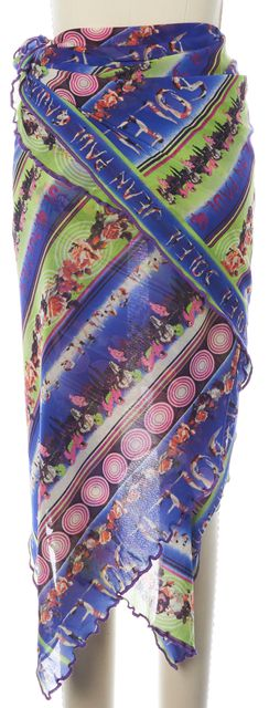 JEAN PAUL GAULTIER Multi-Color Viola Abstract Floral Sarong Skirt
