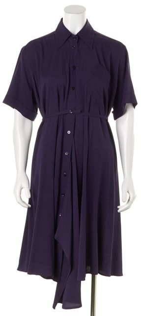 JEAN PAUL GAULTIER Purple Silk Short Sleeve Belted Shirt Dress
