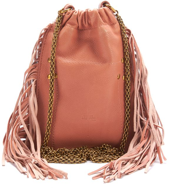 JÉRÔME DREYFUSS Pink Leather Fringe Pouch Small Crossbody Shoulder Bag