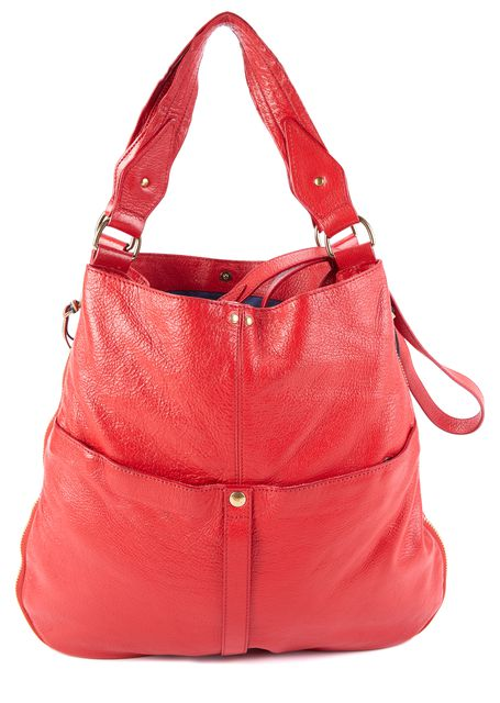 JÉRÔME DREYFUSS Red Leather Hobo Shoulder Bag