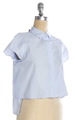 JONATHAN SIMKHAI Blue White Striped Asymmetric Hem Button Down Shirt