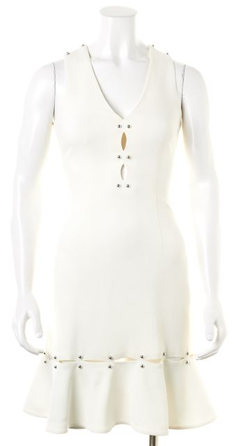 JONATHAN SIMKHAI White Embellished Cutout Sleeveless Sheath Dress