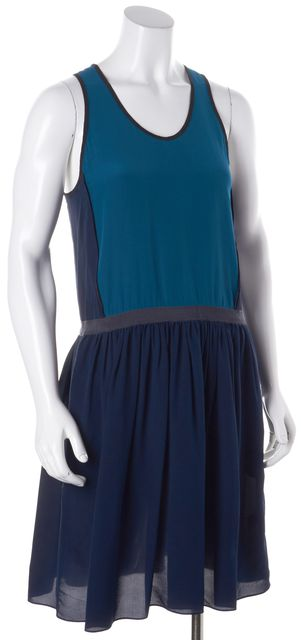 JONATHAN SIMKHAI Blue Two-Tone Silk Racerback Blouson Dress