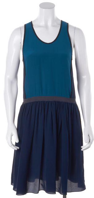 JONATHAN SIMKHAI Blue Two-Tone Silk Racerback Blouson Dress