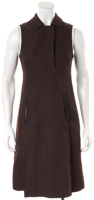 JIL SANDER NAVY Brown Sleeveless Pencil Dress