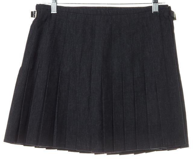 J.W. ANDERSON Dark Navy Blue Cotton Wrap Pleated Mini Skirt