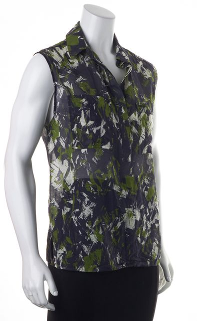 JASON WU Blue Green Abstract Sleeveless Sheer Blouse Top