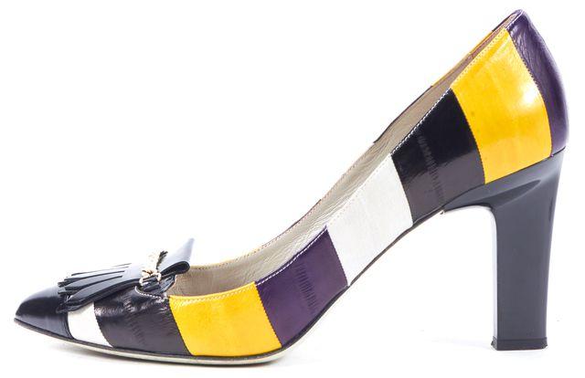 JASON WU Multi-Color Striped Eel Skin Kilty Pump Heels