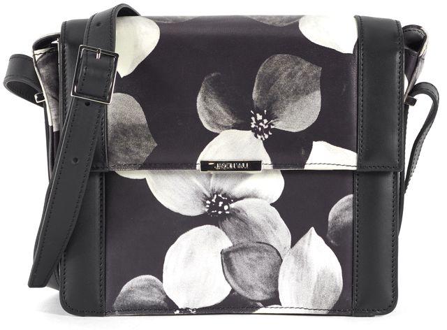 JASON WU Black Floral Print Leather Kate Crossbody Shoulder Bag