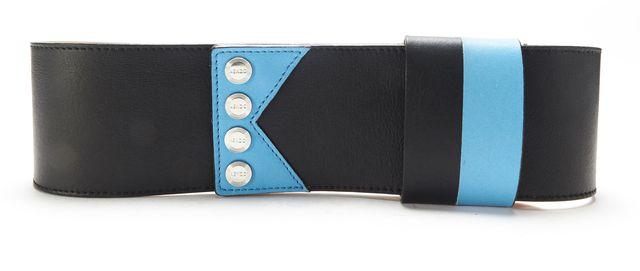 KENZO Black Blue Leather Trim Wide Belt Size L
