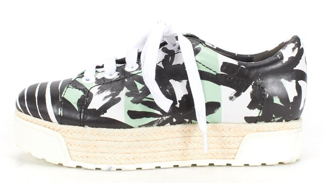 KENZO Black Green Printed Platform Espadrille Sneakers Size 38
