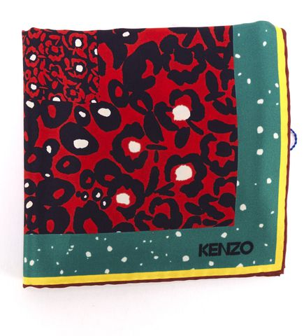 KENZO Red Green Multi Leopard Print Square Scarf